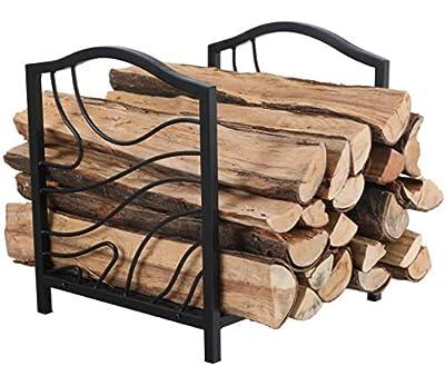 PHI VILLA 16 Inch Firewood Log Rack Decorative Indoor/Outdoor Steel Fireplace Wood Holder Storage Brackets Holder, Black Wave