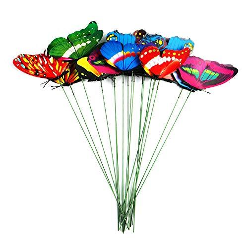 GAOHOU 50 Pcs/Bouquet Papillon Enjeux Coloré Jardin Papillons Tige Bâton pour Art Planteur Fleur Pot Décor