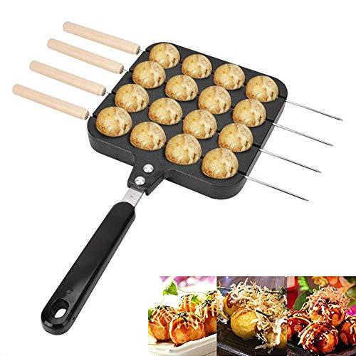 NLYWB 16 Gaten Takoyaki Pan, Gietijzeren Vlees Ball Mold Maker met Houten Handvat, Keukengereedschap met Baknaalden voor Elektrische Oven en Gasfornuis
