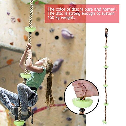 Kinder Kletterseil Schaukel Kinder Kletterseil Baumschaukel mit Scheibe für Spielplatzspielzeug(Grün)