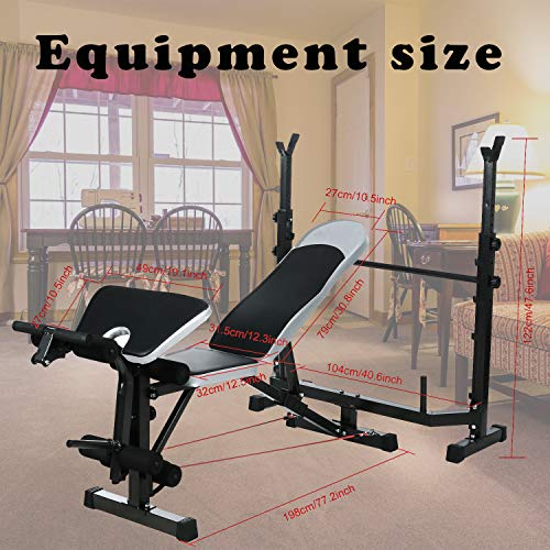 Strength Training Olympic Weight Bench Multi-Function Adjustable heavy duty Weight lifting Benches with Rack Leg Extension and Leg Curl for Home Full-Body Exercise