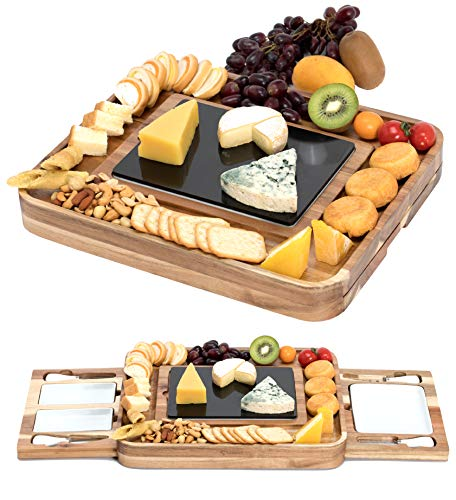 Shanik Acacia Cheese Board Set, Square Shaped Charcuterie Set, Cheese Platter with 2 Slide-Out...