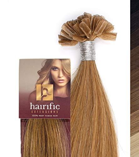 hairific Keratin Extensions Echthaar, Mittelblond - 30cm, Bonding Haarverdichtung- und Verlängerung, 100% Remy Hair, Salon Qualität, 50 Strähnen