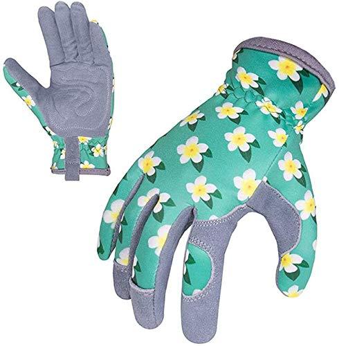 Flora Women Garden Work Gloves, Breathable Rose Pruning Thornproof Gardening Gloves, Puncture Resistant Garden Gloves, Elastic Wrist, Leather Strap Design (M)