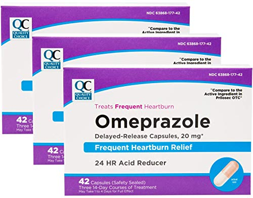 Quality Choice Omeprazole Delayed Release Acid Reducer 20mg 42 Tabs Each 3