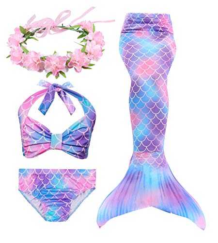 Hifunbay Cola de Sirena Niña para Nadar Incluido Traje de Sirena Baño de Bikini de 3 Piezas y Diadema con Guirnaldas de Flores sin monoaleta (DH48-B07, 130)