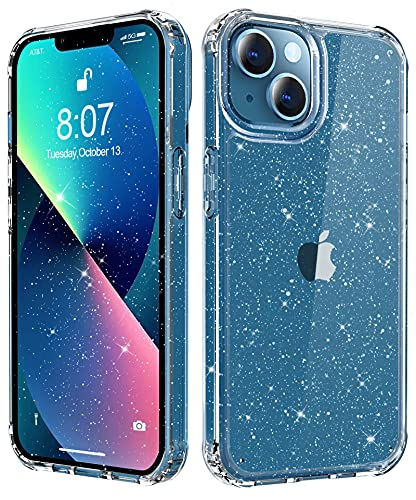 MTVOOX Compatible with iPhone 13 Case Clear Glitter, Crystal Shockproof Protective Hard Phone Case, Non Yellowing Slim for Women Girls iPhone 13 Cover 6.1 inch 2021 - Twinkle Clear