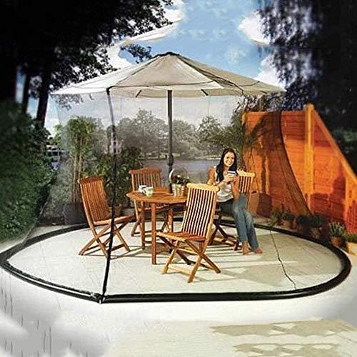 Terrassenschirm Moskitonetz, Outdoor-Garten-Schirm-Tischschirm Sonnenschirm Moskitonetz mit Reißverschlussöffnung und Wasserrohr am Boden zum Fixieren, geeignet für Pavillons