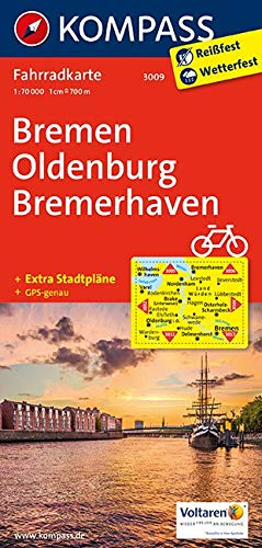 KOMPASS Fahrradkarte Bremen, Oldenburg, Bremerhaven: Fahrradkarte. GPS-genau. 1:70000 (KOMPASS-Fahrradkarten Deutschland, Band 3009)