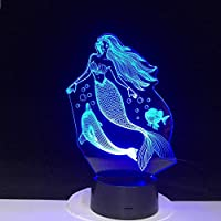 3D LED錯視ランプ おとぎ話とイルカの夜の光の睡眠の家の装飾パーティークリスマス年ギフト