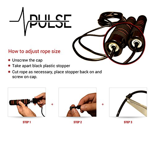 Weighted Jump Rope by Pulse (1LB) with Memory Foam Handles and Thick Speed Cable