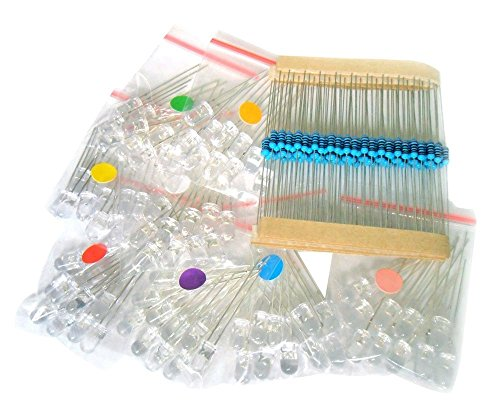 microtivity IL188 5mm Assorted Clear LED w/Resistors (8 Colors, Pack of 80)
