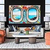 Arte de pared 50x70 cm ventana de avión sin marco junto al mar carteles de decoración del hogar abstractos e impresiones de decoración de sala de estar