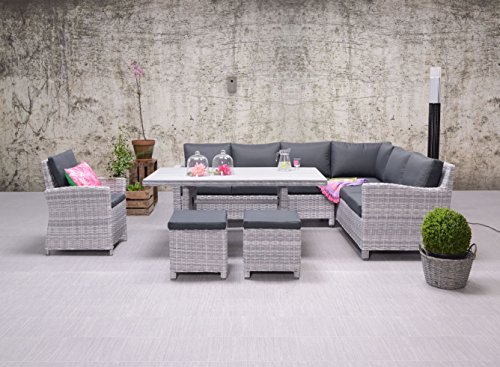Garden Impressions Hohe Dining Poly Rattan Lounge inkl. absolut wetterfester Easy Does it Kissen Vancouver, Zwei Hocker und EIN Sessel