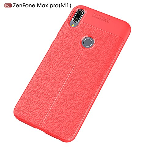 Capa Asus Zenfone Max Pro (M1) ZB601KL com estampa Litchi capa traseira ultrafina TPU + 1 protetor de tela 9H protetor de vidro temperado HD transparente película vermelha