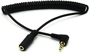 Coiled 3.5mm Jack Audio Cable - Riipoo 5 Feet 90 Degree Angle 4 Pole TRRS 3.5mm Male to Female Stereo Jack Audio Extension Coiled Cable, Spring Cable (Golden Plated)