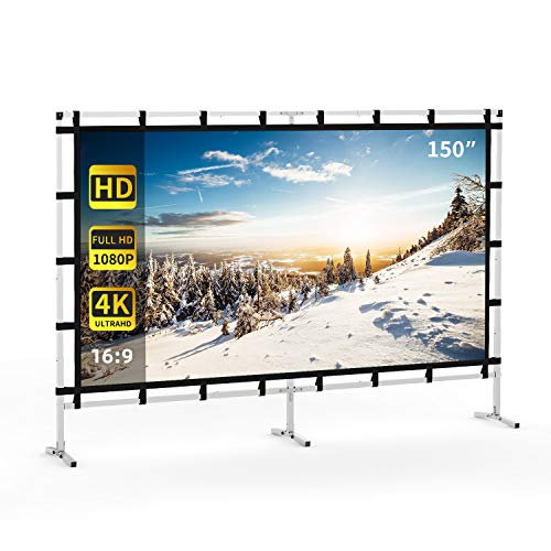 Projector Screen, KSAN Outdoor Projector Screen 150 Inch, Portable Projector Giant Screen with 16:9 HD 4K for Party Home Theater Cinema…