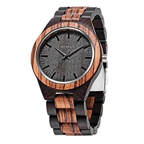 Men Wood Watch Quartz, BYMAX Fashion Handmade Wooden Wrist Watches Mens, Zebra Black