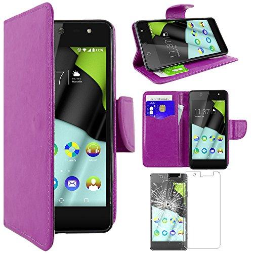 ebestStar - kompatibel mit Wiko Selfy 4G Hülle Kunstleder Wallet Case Handyhülle [PU Leder], Kartenfächern, Standfunktion, Lila + Panzerglas Schutzfolie [: 141 x 68.4 x 7.7mm, 4.8'']
