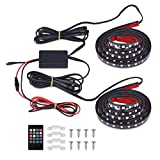 """VANJING 2PCS 60"""" RGB LED Truck Bed Light Strip Kit with Sound-Activated Function Wireless Remote for Truck Bed Cargo Boat Pickup RV SUV Waterproof IP67 Lighting Kit Tailgate Light 12v Boats and More"""