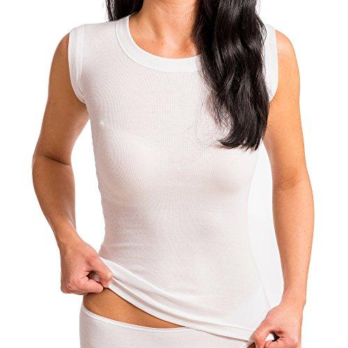 HERMKO Korsett Unterhemd mit Rundhals-Ausschnitt ohne Seitennaht aus 100% Bio- Baumwolle, Farbe:weiß, Größe:M