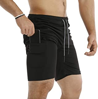 "MECH-ENG Men's Workout Running 2 in 1 Shorts Training Gym 7"" Short with Pockets"