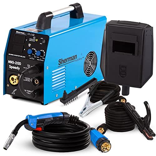 3 en 1 MIG inversor soldador máquina de soldadura MIG TIG DC Lift SHERMAN MIG 200 SPEEDY nueva versión mejorada Soldador de arco MMA sin gas sin flujo de gas alambre 200A 220V portátil IGBT