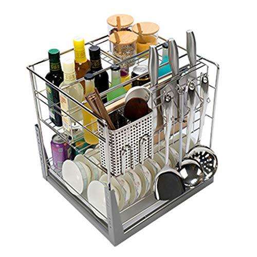 Estante de almacenamiento de gabinete de cocina deslizable, canasta de condimentos de 3 capas, organizador de cajón extraíble de acero inoxidable 304, para cocina / armario / despensa / baño