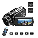 Video camera HD, Andoer 4K Ultra HD Palmare DV Videocamera professionale, 18X Digital Zoom Camera,...