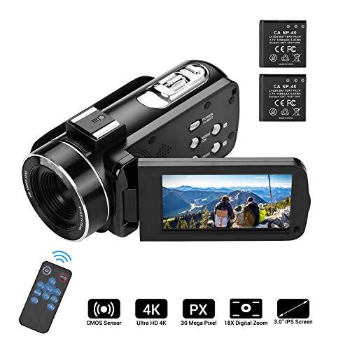 Video camera HD, Andoer 4K Ultra HD Palmare DV Videocamera professionale, 18X Digital Zoom Camera, 3.0' LCD