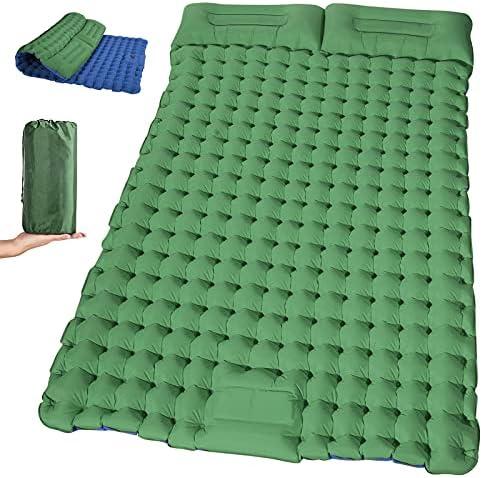 2개의 필로우가 있는 이중 팽창식 캠핑 수면 패드 방수 잠자는 매트 텐트 배낭 여행용 경량 휴대용 에어 매트리스