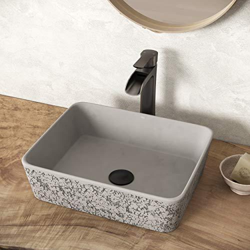VIGO VG04052 17.75' L -14.375' W -5.0' H Zinnia Handmade Concrete Rectangular Vessel Bathroom Sink in Ash Gray Finish
