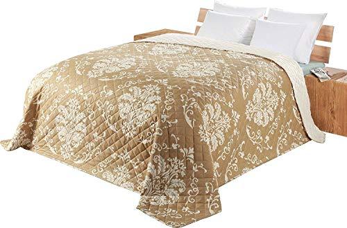 Delindo Lifestyle Tagesdecke Bettüberwurf Serie Dream, für Einzelbett, 140x210 cm, beige braun, gesteppt