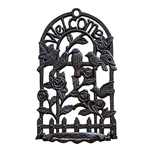LLSS Heavy Duty Cast Iron Coat Hook Wall Planter Hanger - 49CM / 19.3INCH & Slidable 4 Hooks - Home & Garden Decorative Vintage Hanging Hooking Wall D