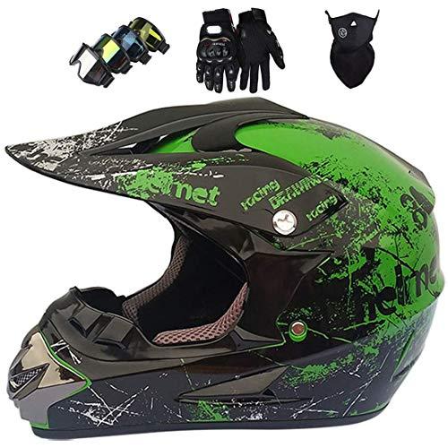 Casco de moto para niños,Conjunto de casco integral MTB,Casco todoterreno para Dirt Bike MX ATV Scooter Bicicleta de montaña con gafas Guantes Máscara,Certificación DOT & ECE,Verde