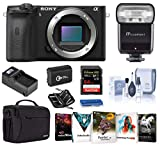 Sony Alpha a6600 Mirrorless Digital Camera Body Only, Bundle with Flash, Bag, Battery, Charger, 64GB SD Card, and Accessories