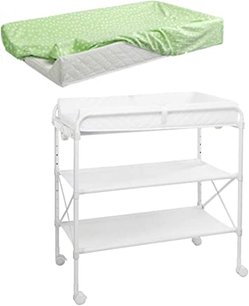 ZAQI Baby Changing Table With Wheels Storage Pad  Folding White Massage Station For Nursery Public Bathroom Daycare Center Restaurant