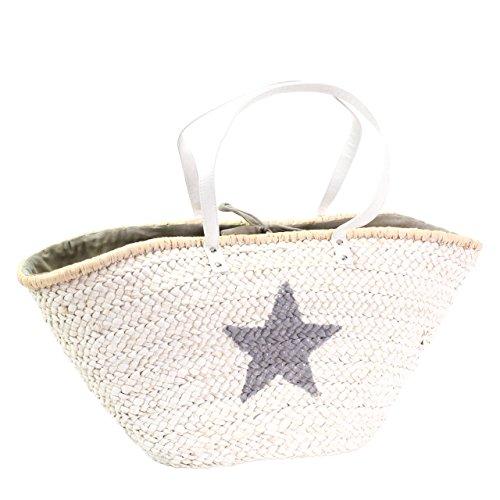 XL Strandtasche Shopper Stern weiß grau