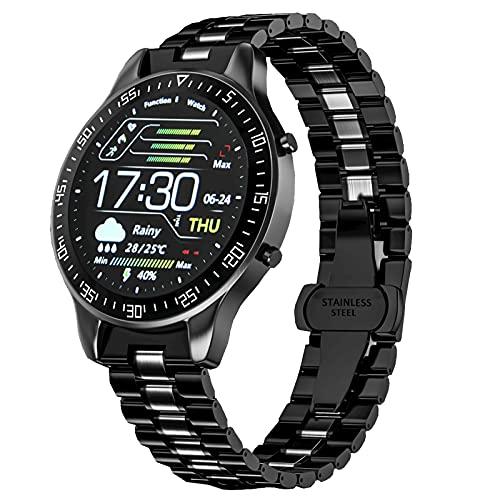 FORMIZON Smartwatch für Herren, Fitness Tracker mit Blutdruck Sauerstoff Stoppuhr Touchscreen, IP68 Wasserdicht Fitness Edelstahluhr, Uhren Schrittzähler Armbanduhr Männer Android iOS (schwarz)