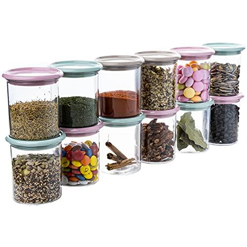 QILZO® Juego de 12 tarros de especias de plástico con tapa 250ml...