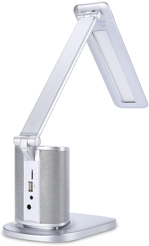Earlyheart Moderne Minimalistische Smart Blautooth Audio LED Schreibtischlampe Touch Lade Folding Night Light Lernen Auge Studie Leselicht Schlafzimmer Folding Home USB Nachttischlampe, Silber