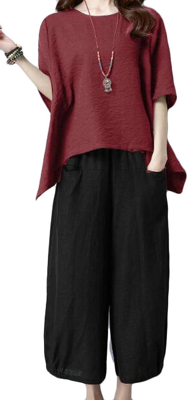 BLTR Women's Summer Asymmetrical Short Sleeve Tops and Wide Leg Linen Pants 2 Pieces Sets