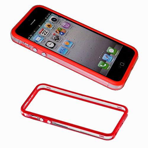 ebestStar - Bumper Cover Compatibile con iPhone SE 5S 5 Custodia Protezione Sottile Slim, Anti Shock Assorbimento Urti, Trasparente/Rosso [Apparecchio: 123.8 x 58.6 x 7.6mm, 4.0'']