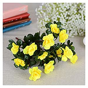 Silk Flower Arrangements WEIMEIDA Realistic Artificial Red Azalea Flowers Bushes UV Resistant Fake Flowers Home Decor Small Decorations for Garden Pleasant (Color : Yellow)