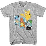 Pokemon Boys Pikachu Game Shirt - Gotta Catch Em All - Official T-Shirt (Heather Grey, Large)