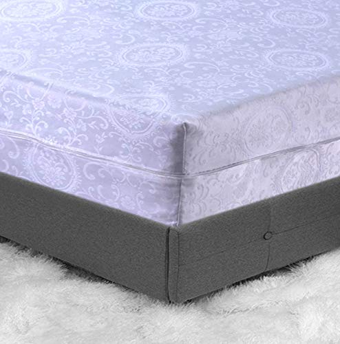 Extra Deep Damask Zipped Mattress Protector Full Encasement for anti-bug Bed Protection White Floral Jacquard Mattress Topper Cover Double size Bed
