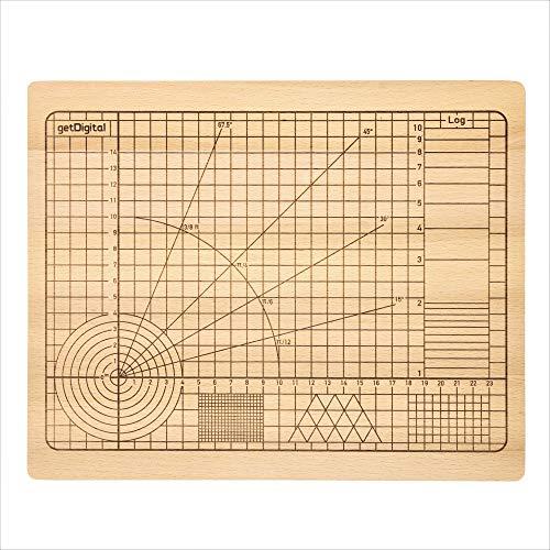 getDigital 11780 Schneidebrett Hochpräzision aus unbehandeltem Buchenholz mit Winkeln und geometrischen Formen 31 x 25 x 2 cm
