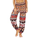 QTJY Pantalones Casuales de Moda para Mujer Pantalones Harem Sueltos Pantalones Hippie Bohemios Pula fluidos Cintura Alta Pantalones de Yoga Suaves G M