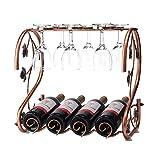 Freestanding Countertop Wine Rack Wine Glass Holder, Holds 4 Wine Bottles and 6 Stemwares