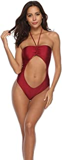 SGJFZD Swimsuits for Women Hollow Halter Fashion Design Neck One-Piece Sexy Bikini, Solid Color (Color : Wine Red, Size : S)